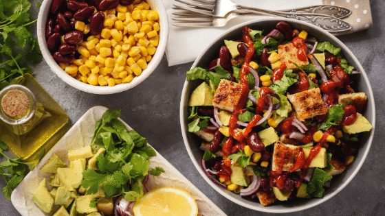Chicken and black bean burrito salad to meal prep your lunch.