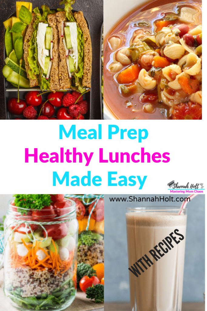 A variety of different ways you can meal prep your lunch the healthy and easy way like mason jar salads, soups, sandwiches, and shakes recipes included.