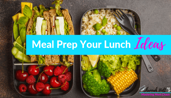 Different varieties of foods in bento boxes with text overlay Meal Prep your lunch ideas