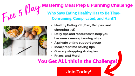 Meal planning book with foods to meal prep and text Free 5 Day mastering meal prep planning challenge join today