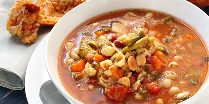 Pasta Fagioli soup recipe in a bowl ready to warm you up on a cold day.