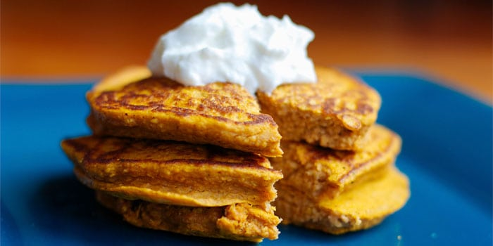 Pumpkin protein pancakes recipe with whip topping