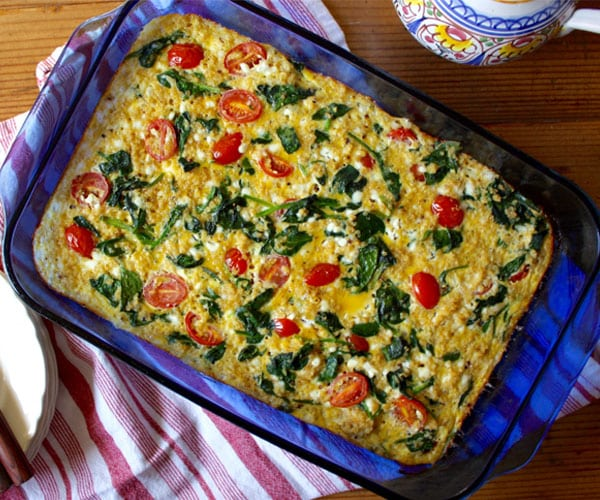Spinach, Tomato, and Quinoa Breakfast Casserole recipe
