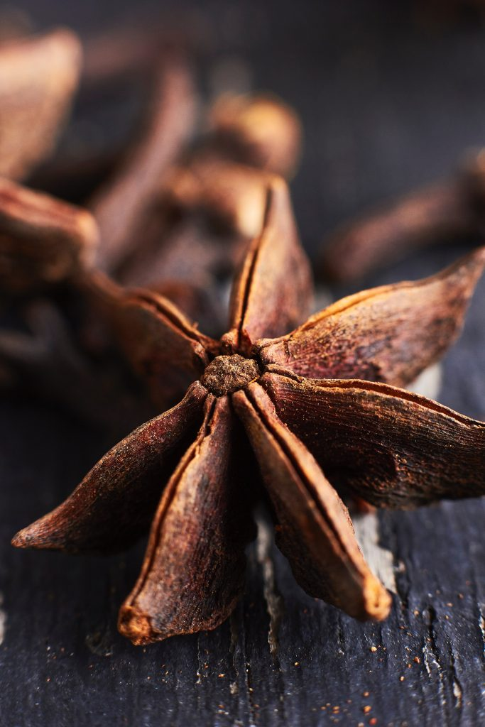 Anise plant dried up looks like a star. Anise helps improve digestion.