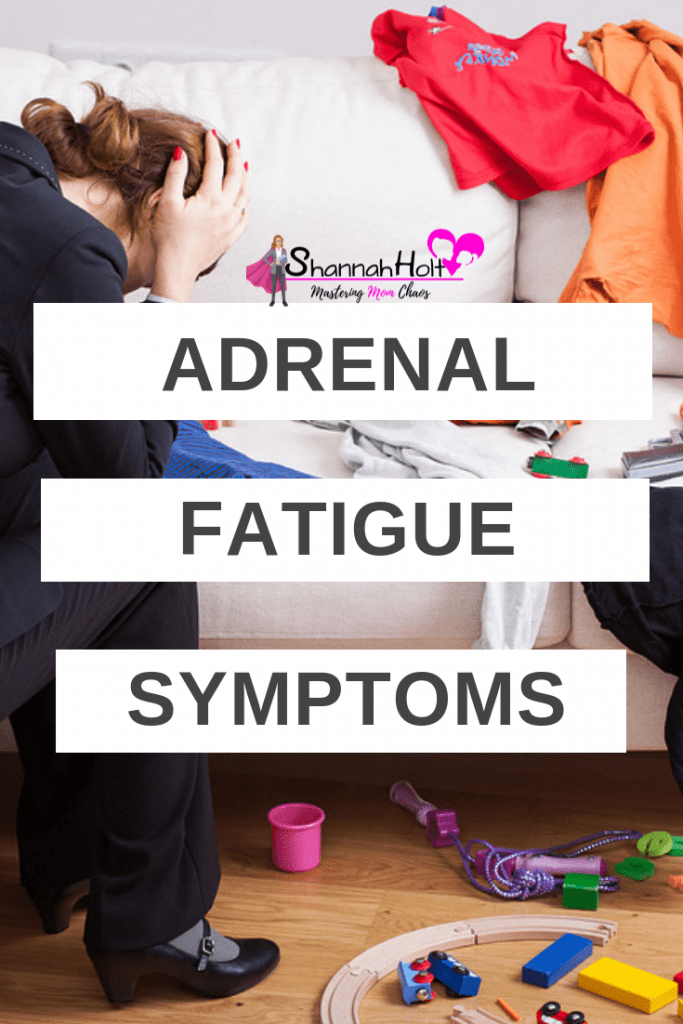 Mom exhausted and frustrated sitting in her living room with toys strung everywhere. She was experiencing adrenal fatigue symptoms and didn't realize it.