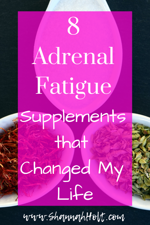 Bowls of Herbal supplements in powder form in bowls on a table with text overlay Adrenal Fatigue supplements that changed my life.