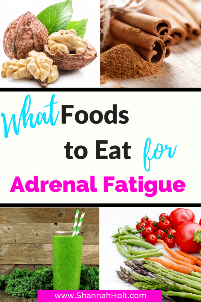 What food to eat for Adrenal Fatigue with images of a variety of foods for an adrenal fatigue diet.