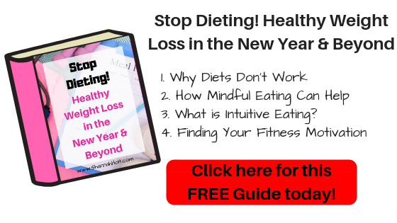 Click here for this free guide today! Stop Dieting! Healthy Weight Loss in the New Year and Beyond 1. Why Diets Don't Work. 2. How Mindful Eating can help. 3. What is Intuitive Eating? 4. Finding your fitness motivation.
