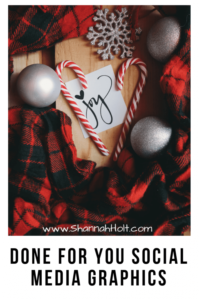 Holiday scene with red checkered scarves Christmas tree decor candy canes and the word Joy in the middle. Text Done for you social media graphics