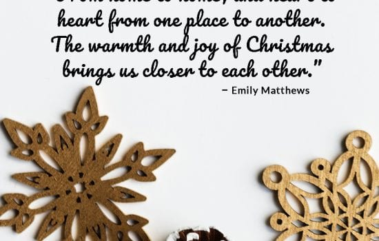 White snow background with copper collored snow flakes and a pine cone at the bottom. Has a quote about Christmas. This is one of the December's done for you social media graphics in the club.
