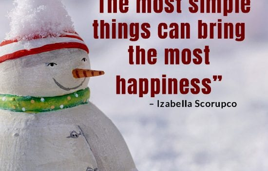 One of the December's done for you social media graphics of a snowman outside in the snow with quote about happiness.