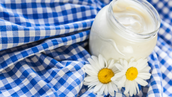 Yogurt on a blue checkered tablecloth with two daisies.