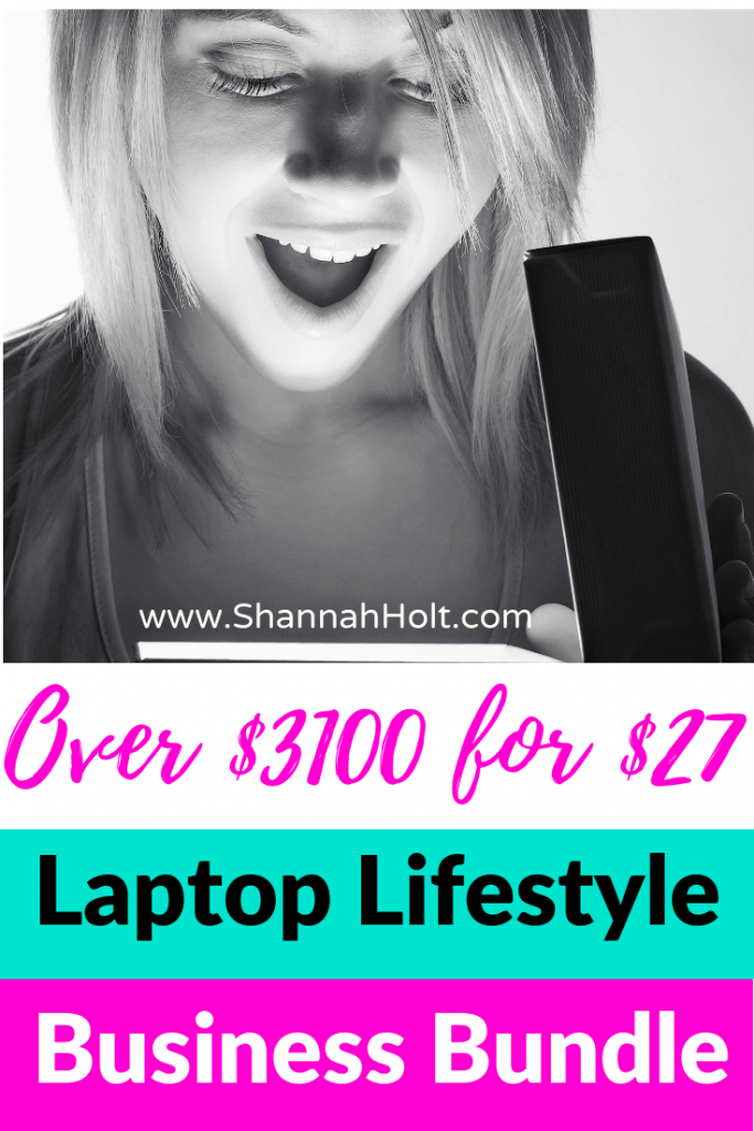 Woman looking at Over $3100 for $27 Laptop Lifestyle Business Bundle on her computer.