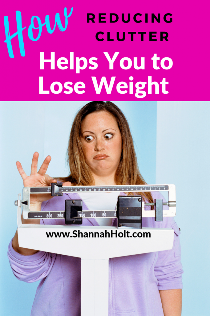 Overweight woman on a scale looking a little annoyed and surprised at the number on the scale. Text How Reducing Clutter Helps You to Lose Weight